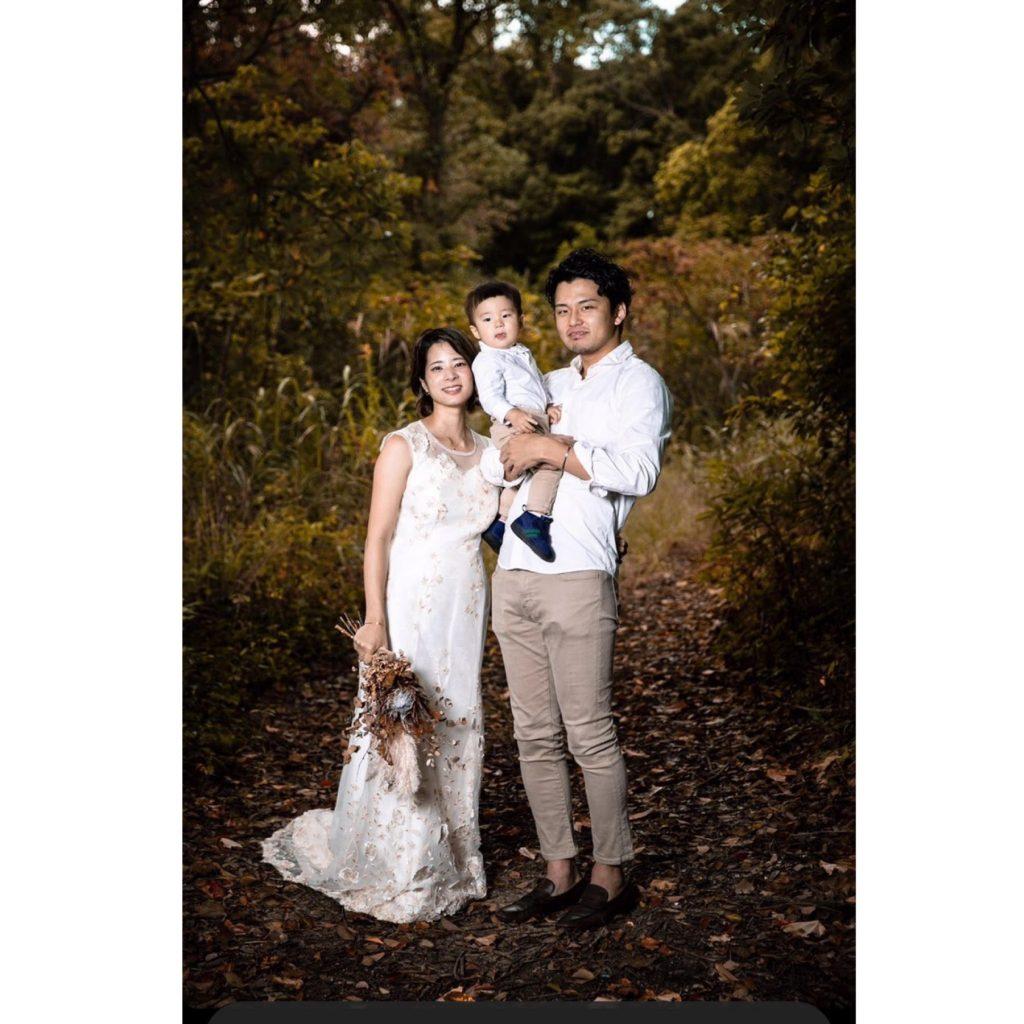 結婚2年目!家族3人の記念日に私のウェディングドレスを着て